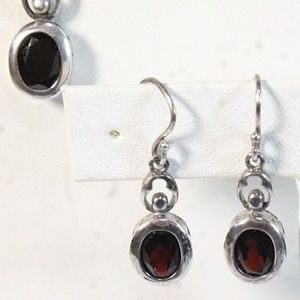 Jewelry - Garnet Necklace and Earring Set 925 Silver